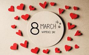 Обои Women's Day, 8 марта, сердечки, hearts