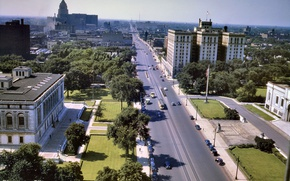 Картинка дома, панорама, США, улицы, квартал, Детройт, 1942-й год