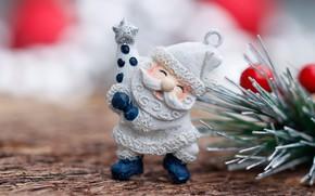 Картинка иголки, ветка, Санта Клаус, фигурка, боке, ёлочная игрушка