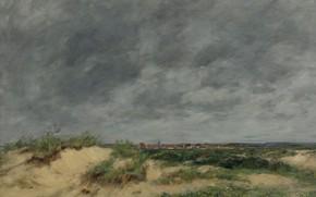 Картинка пейзаж, картина, Эжен Буден, Eugene Boudin, Дюны в Берке