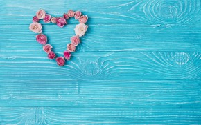 Картинка цветы, розы, лепестки, бутоны, сердечко