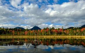 Картинка небо, облака, деревья, горы, водоем, Baxter State Park