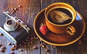 Картинка кофе, зерна, камера, клубника, чашка, camera, strawberry, coffee, grain