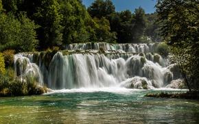 Картинка лес, деревья, река, водопад, солнечно, Хорватия, Krka National Park