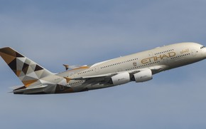 Картинка самолёт, летит, пассажирский самолёт, Airbus A380, треугольники на хвосте
