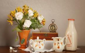 Картинка цветы, часы, розы, букет, посуда, альстромерия