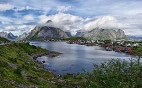 Картинка облака, пейзаж, горы, озеро