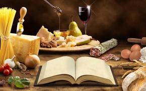 Картинка стол, вино, бокал, яйца, сыр, лук, хлеб, нож, книга, груша, мёд, желток, помидоры, спагетти, колбаса, …