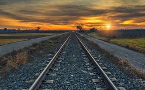 Обои природа, закат, железная дорога