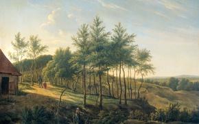 Картинка пейзаж, масло, картина, холст, Gerrit Jan Michaelis, Холмистый Ландшафт, 1814, Геррит Ян Микаэлис