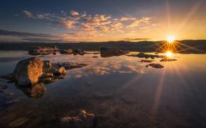 Картинка солнце, облака, озеро, камни, Yellow Stone
