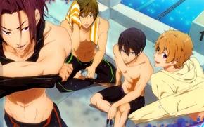 Картинка бассейн, парни, друзья, спортсмены, free, matsuoka rin, hazuki nagisa, nanase haruka, tachibana makoto, вольный стиль, …