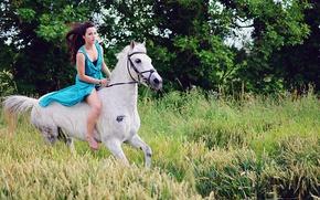 Обои свобода, девушка, конь