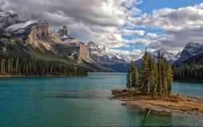 Картинка пейзаж, горы, природа, озеро, красота, Канада, Альберта, Jasper National Park, Maligne Lake