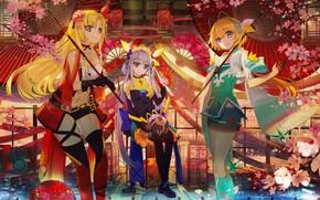 Обои девочки, аниме, трио