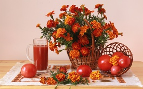 Картинка красный, сок, натюрморт, помидоры, бархатцы