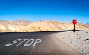Картинка дорога, разметка, знак, пустыня, Zabriskie Point