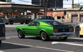 Обои город, автомобиль, Grand Theft Auto V, дорога, muscle car, улица, стиль