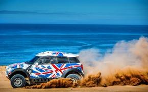 Картинка Песок, Море, Пляж, Mini, Винил, Спорт, Пустыня, Скорость, Гонка, Британия, Жара, Побережье, Rally, Ралли, Raid, …