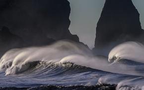 Картинка волны, океан, скалы, побережье