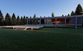 Картинка ели, архитектура, строение, лужайка, farnsworth house