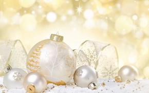 Картинка зима, шары, новый год, боке