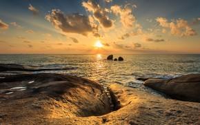 Картинка море, волны, пляж, лето, небо, закат, камни, скалы, берег, summer, beach, sky, sea, sunset, seascape, ...