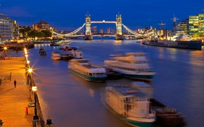 Картинка река, корабль, Англия, Лондон, hdr, Темза, Тауэрский мост