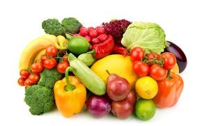 Картинка лимон, лук, бананы, белый фон, лайм, перец, фрукты, овощи, помидоры, груши, капуста, дыня, кабачки