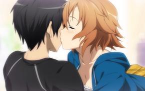 Картинка поцелуй, аниме, арт, Мастера меча онлайн, Sword Art Online, Кирито