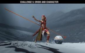 Картинка робот, существо, шест, challenge, droid and character