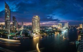 Картинка река, здания, Таиланд, Бангкок, Thailand, ночной город, небоскрёбы, Bangkok, Chao Phraya River, Кхлонгсан, река Чаупхрая, ...