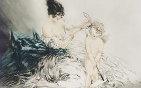 Картинка ангел, 1922, Louis Icart, арт-деко, офорт и акватинта, С завязанными глазами