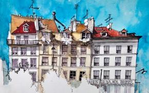 Картинка город, рисунок, Париж, дома, акварель