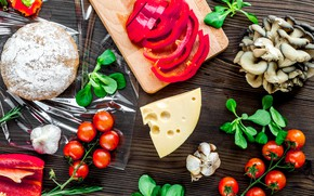 Картинка грибы, сыр, перец, пицца, томат, тесто, заготовки