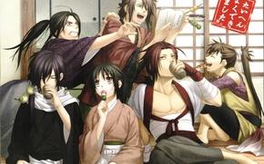 Картинка эмоции, отдых, кимоно, парни, друзья, Демоны бледной сакуры, Yukimura Chizuru, Okita Souji, Saitou Hajime, Hakuouki …