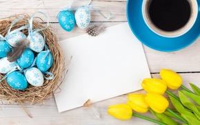 Обои coffee cup, decoration, wood, Easter, Пасха, тюльпаны, tulips, кофе, tender, yellow, Happy, spring, eggs