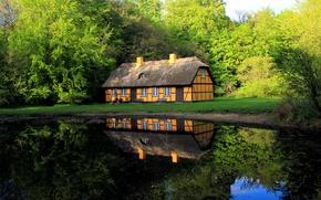 Картинка крыша, зелень, вода, уют, дом, пруд, гладь, отражение, красота, Дания, домик, water, водная гладь, местечко, …
