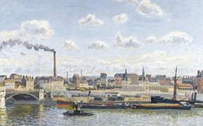 Картинка картина, городской пейзаж, Камиль Писсарро, Мост Буальдьё и Орлеанский Вокзал. Руан, Солнечный День