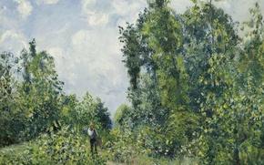 Обои Камиль Писсарро, деревья, Странник Выходящий из Леса, природа, пейзаж, картина