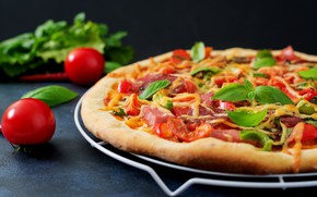 Картинка зелень, пицца, томат