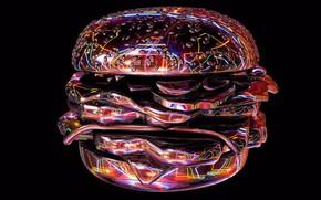 Обои светящиеся линии, гамбургер, черный фон, картинка, абстракция, арт, рендеринг, компьютерная графика, неоновый свет
