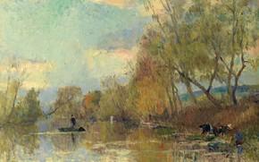 Картинка пейзаж, река, картина, Альбер-Шарль Лебур, Albert Lebourg, Прачки