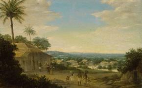 Обои пейзаж, Бразильская Деревня, Франс Пост, масло, картина, дерево