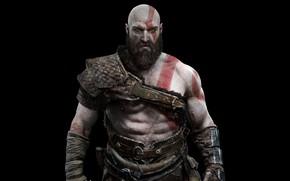 Обои Чёрный фон, Кратос, God of war