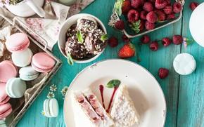 Картинка ягоды, малина, печенье, мороженое, пирожное, сладкое, macaron