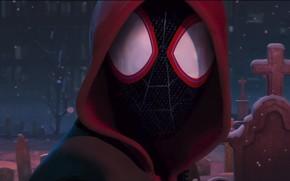 Картинка Снег, Герой, Маска, Капюшон, Супергерой, Hero, Snow, Фантастика, Marvel, Человек-паук, Мультфильм, Comics, Spider-Man, Mask, Марвел, …