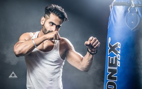 Картинка Model, Men, Guy, Fitness, Boxing, Muscles, Exercise, Fists, Workout, biceps, Intense, Stand, Honey Green, Personality, …