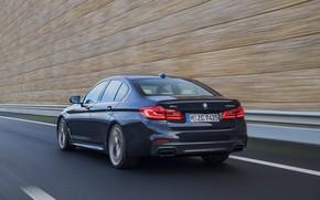 Картинка дорога, движение, чёрный, скорость, размытие, BMW, ограждение, сзади, седан, вид сбоку, 5er, 2017, 5-series, G30, …
