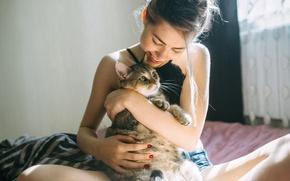 Картинка кошка, девушка, радость